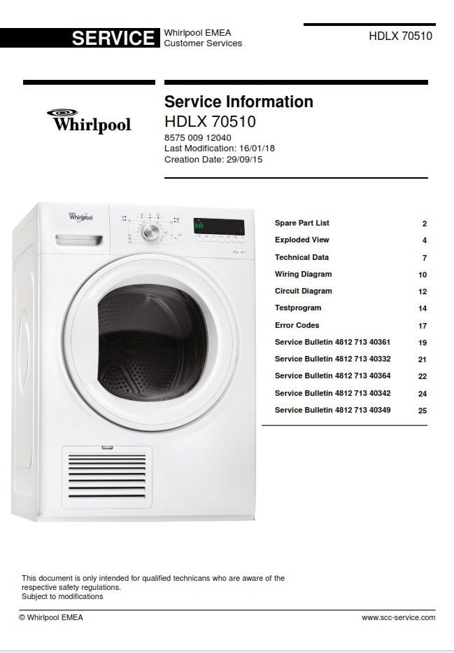 Whirlpool Hdlx 70510 Dryer Service Manual And Technicians Guide
