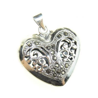 Jewellery :: .925 Silver :: Marcasite filigree heart pendant - $67
