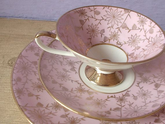 Vintage Eberthal Bavaria Germany china tea set, pink and gold art deco tea cup set