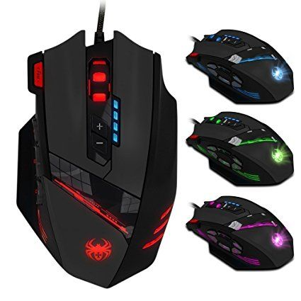 ZELOTES 12 Programmable Buttons Mouse,Weight Tuning Set,Multi-Modes LED lights,4000 DPI (Up to 8000DPI by the Software),Ergonomic USB Wired Gaming Mouse Mice for Pro Gamer PC Laptop Computer