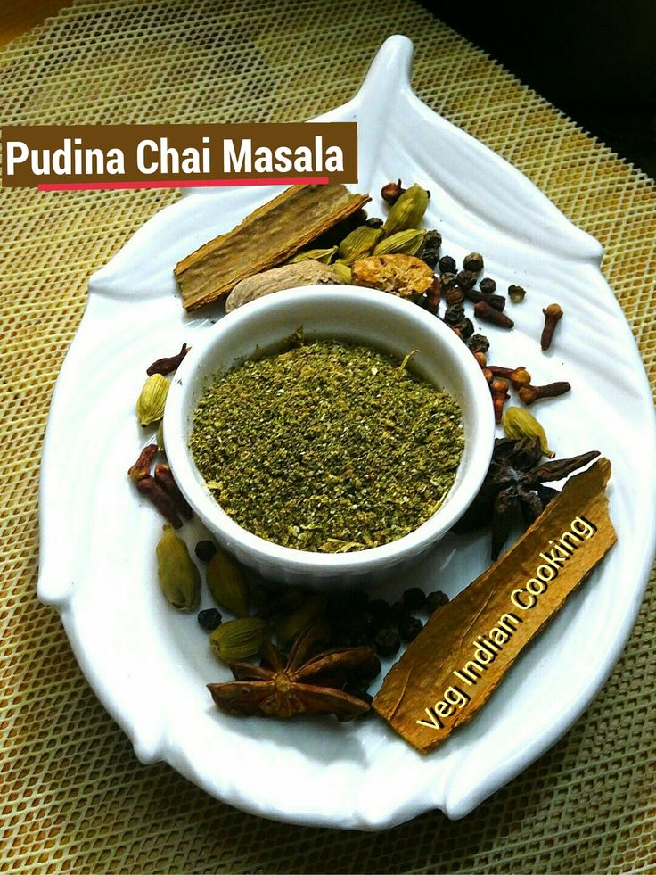 Pudina Chai Masala Powder  Pudina Masala Chai aka Minty Spiced Tea is flavored tea drink which is made by brewing black tea with a mixture of aromatic herbs and spices.  #teamasala #indianrecipes #indianfood #masalatea #pudina #mint #beverage #foodblogger  #tea #chai #masalachai