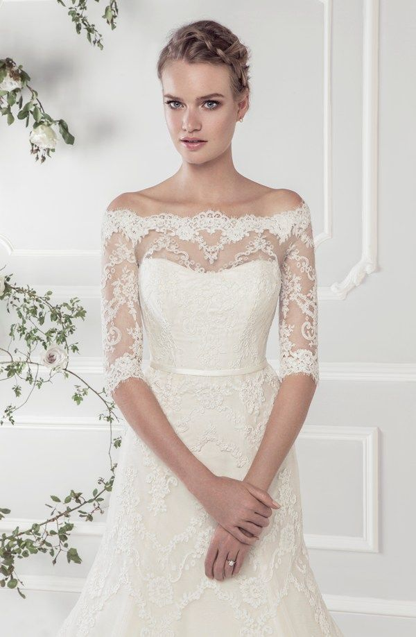 Ellis Bridals Rose wedding dresses collection 2015 | Wedding dress 11418 – Elegant off-the-shoulder lace A-line dress with delicate three quarter length sleeves and narrow satin belt.