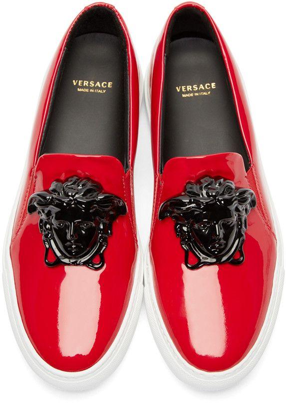 Versace Red Medusa Slip-On Sneakers