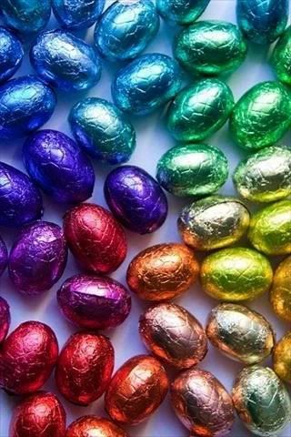 Colorful foil-wrapped chocolate eggs (by brightlightimages on Photobucket)