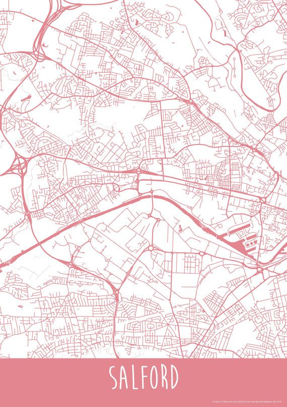 Salford City England Art Map Roads Print  Your by ILLAstudio
