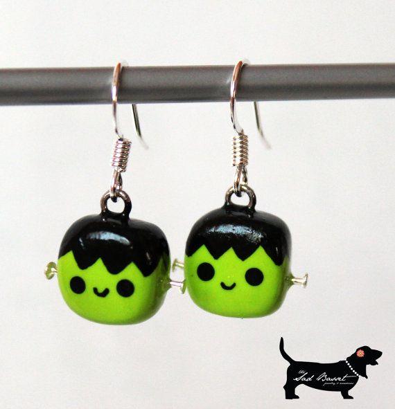 Kawaii Polymer Clay Frankenstein Earrings - Halloween, Spooky, Children, Adult