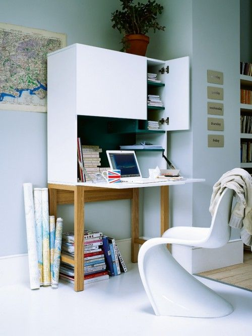 """The pictured desk is truly neat because the ledge drops down when you need to do work and goes up and stores away the unsightly papers and what not from having a desk! Also, click on the picture for four other designs that allow """"urban dwellers"""" that chance to utilize every square inch!"""
