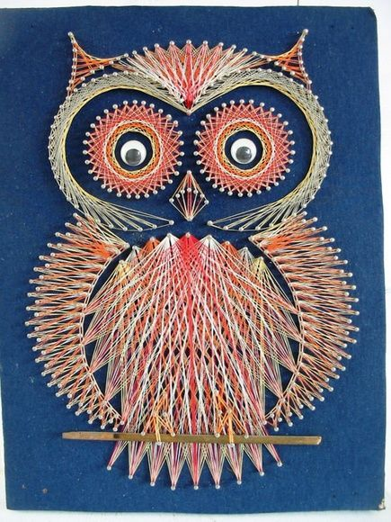 Owl string art, cute little fellow sitting on the wall