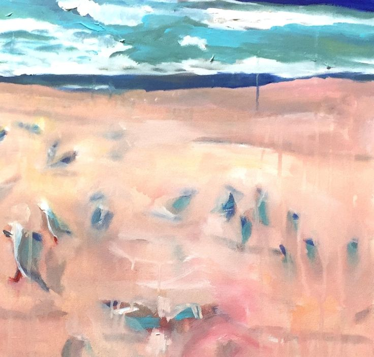 "Beyond Bondi -Bondi Gulls 2015  20x20"" Acrylic on Canvas. Bondi beach in winter has a colourful hue, depending the pink in the sunrise or the sunset and the wetness of the sand. Sea gulls flock, and huddle from the wind, communing and feeding, one leg or two."