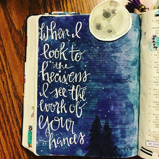 Bible Journaling by Stephanie Middaugh @stephmiddaugh | Psalm 8:3; 9