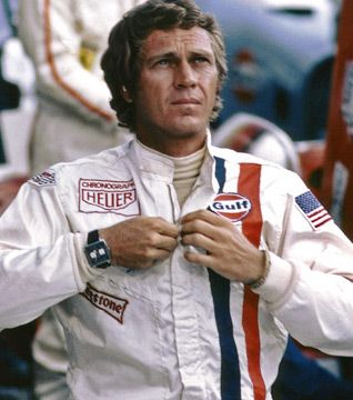 "The original Tag Heuer ""Monaco"" racing watch worn by Steve McQueen in the 1971 film Le Mans"