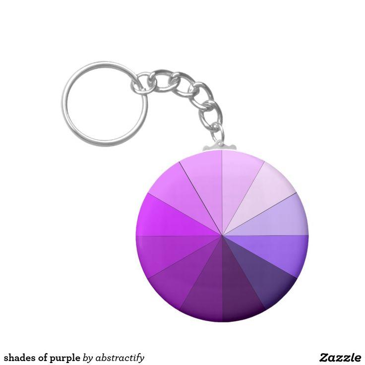 shades of purple basic round button keychain