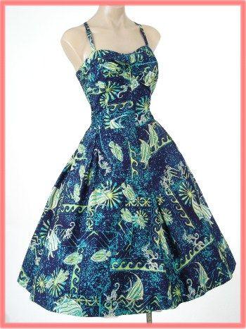 50s Alfred Shaheen Hawaiian Sun Dress-1950s Vintage Hawaiian ...
