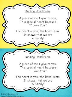 Kinder Alphabet: The Kissing Hand Poem FREEBIE! Great for the first week of school!