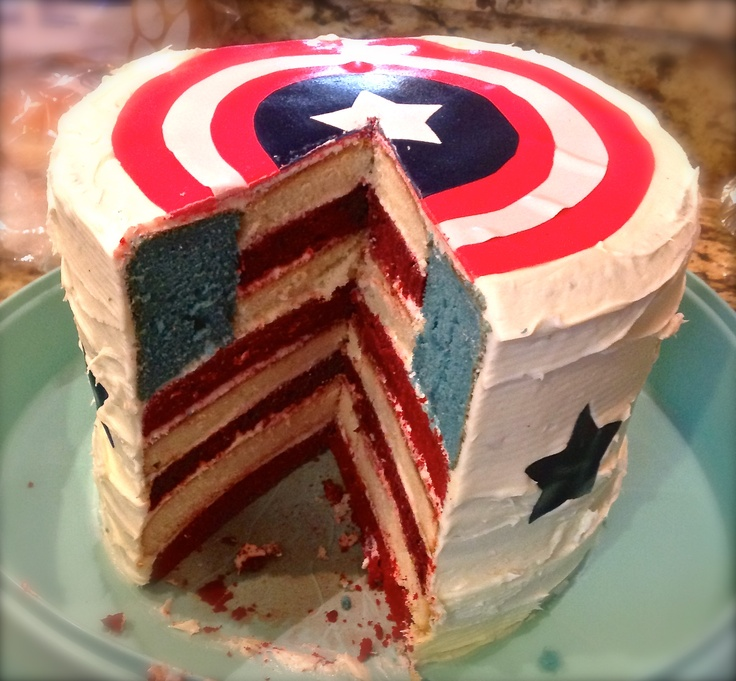 From Amy Mac! Rachel and I's latest masterpiece: Captain America 4th of July Flag cake!