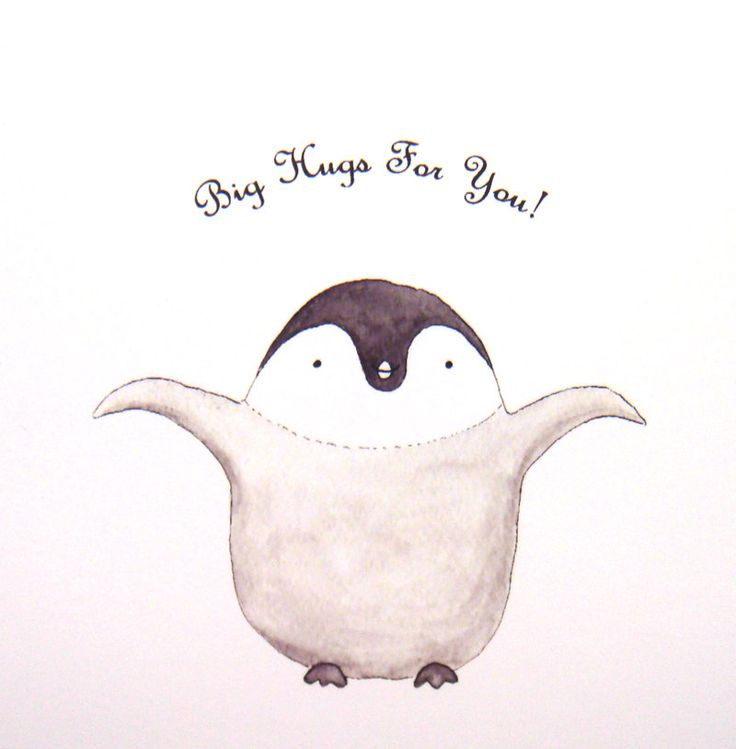 Cute Penguin Hug Original Animal Illustration Print Home Nursery Wall Decor 4x6. $7.99, via Etsy.
