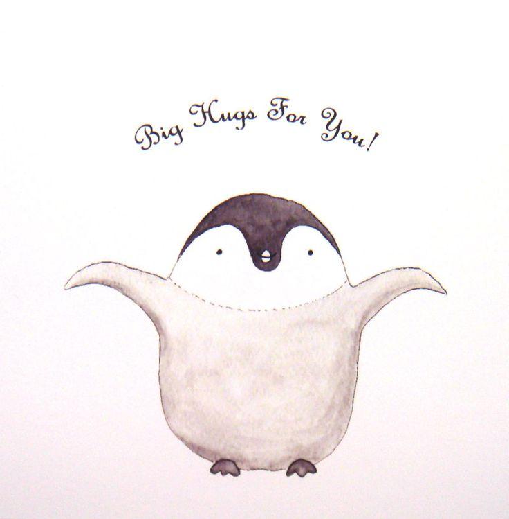 Cute Penguin Hug Original Animal Illustration Print Home Nursery Wall Decor 4x6. $7.99, via Etsy.