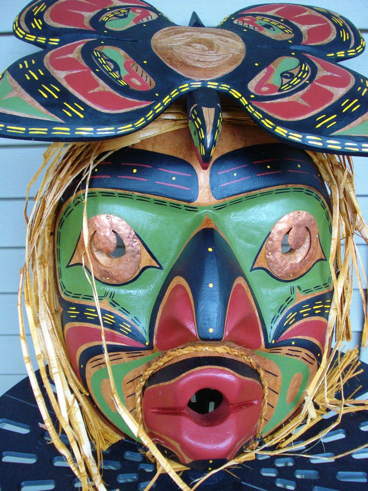 Northwest Coast Native Art Large Butterfly Man Mask sculpture carving