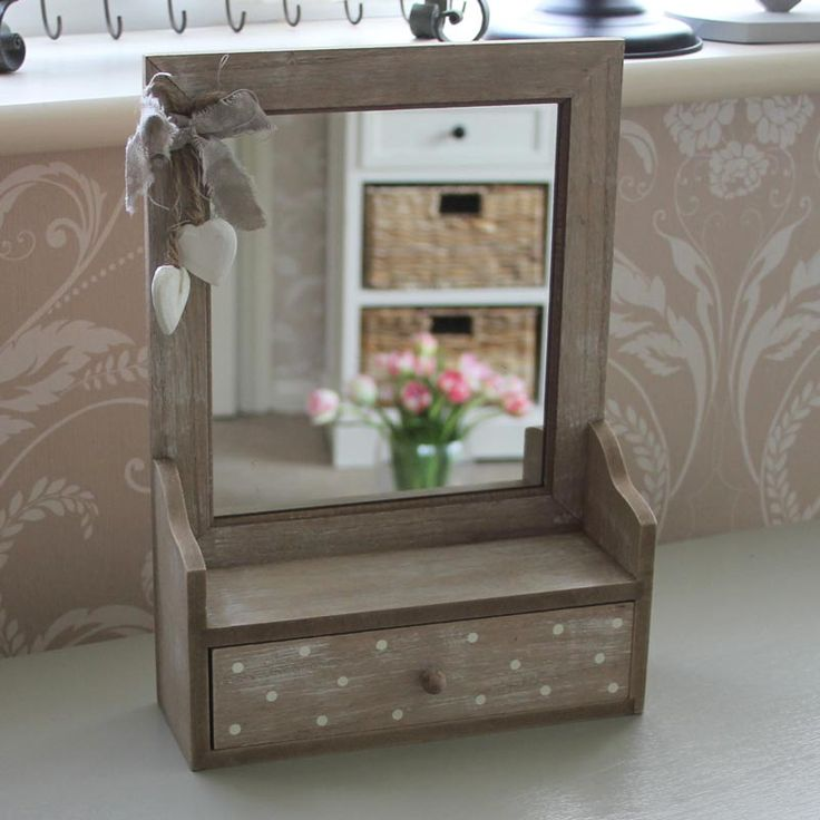 Superior Spotted Wooden Heart Table Top Mirror With Drawer   Melody Maison®