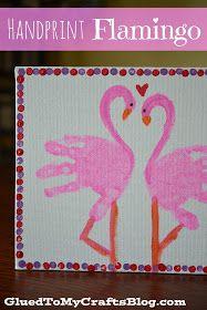 Glued to my Crafts: Handprint Flamingo {Kid Canvas Craft}
