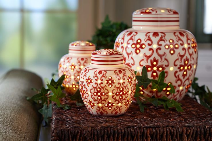 Illuminated Porcelain Jars run on a timer function.  Either a set of two small or large single  H208626 http://qvc.co/-Shop-ValerieParrHill