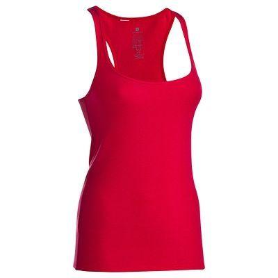 Canotte Fitness, Ginnastica, Danza - Canotta a costine in cotone fitness donna rossa DOMYOS - Abbigliamento palestra