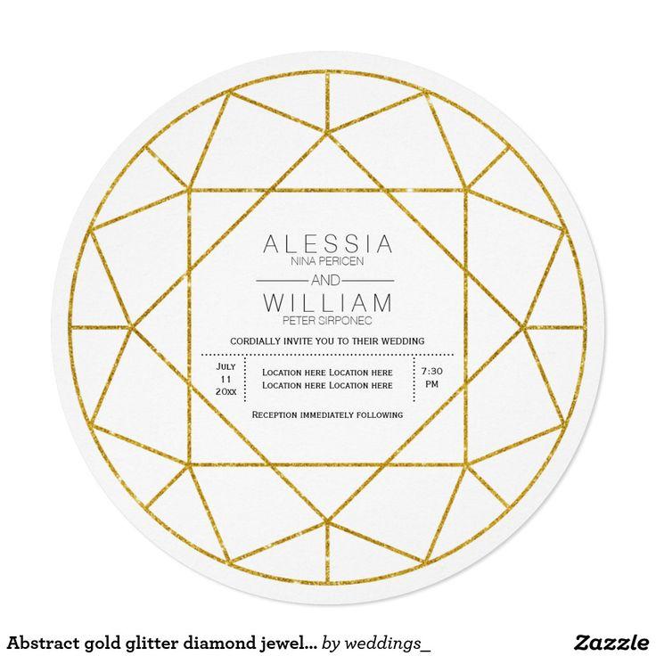 Abstract #gold Glitter #diamond Jewel Circular #weddinginvitations · Zazzle InvitationsInvitation  WordingWedding InvitationTraditional ...