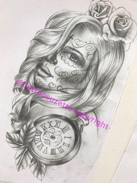 santa muerte catrina tattoo design by tattoosuzette on DeviantArt