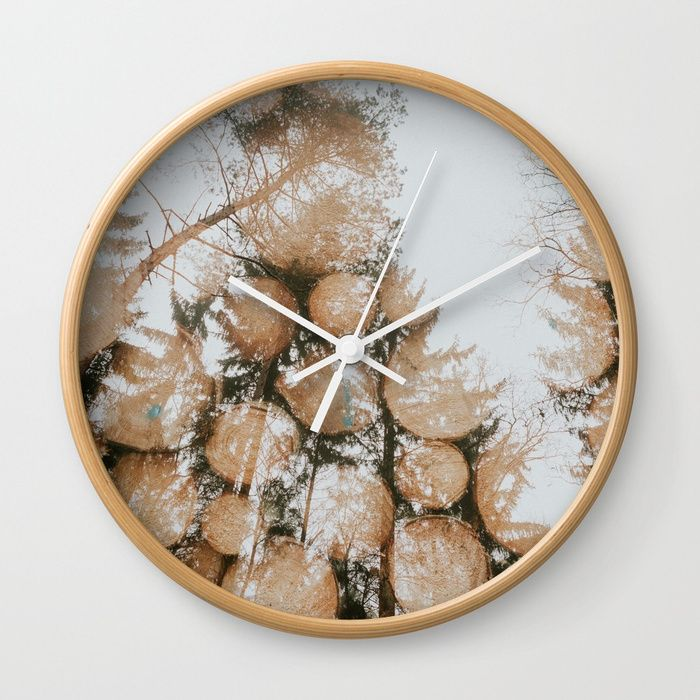 """Available in natural wood, black or white frames, our 10"""" diameter unique Wall Clocks feature a high-impact plexiglass crystal face and a backside hook for easy hanging. Choose black or white hands to match your wall clock frame and art design choice. Clock sits 1.75"""" deep and requires 1 AA battery (not included).  #hudolin, #photograhy, #nature, #wood, #forest, #double-exposure"""