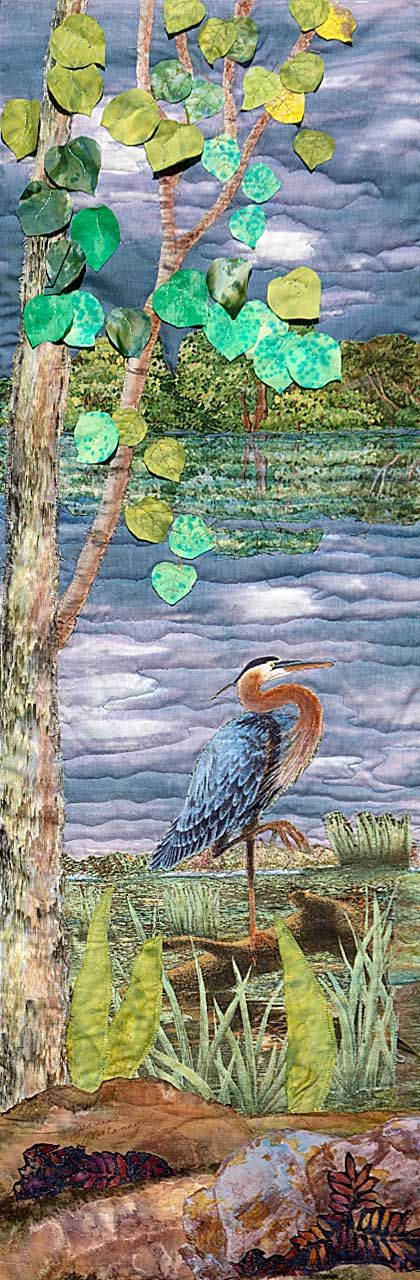 Fishing--Fabric Landscape Painting by Jeanine Malaney