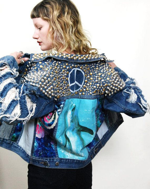 90s Vintage STUDDED Dolphin JACKET Seapunk PATCH by cruxandcrow, $289.00