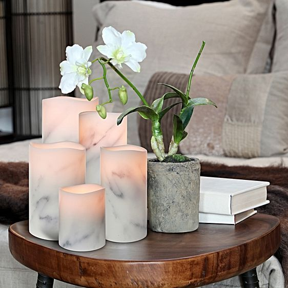 Flameless Carrara Marble Wax Candle by Enjoy Lighting