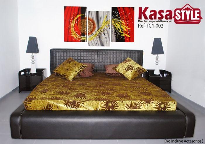 kasa style en Armenia, Quindío  Cama Gloden Dark  Cama con estilo moderno y exclusivo, elaborado en cuero italiano , patas en acero inoxidable . Tendido de tablas: Base independiente Madera: Eucalipto Macizo