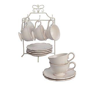 Set de 6 tazas de café con platillo en cerámica y soporte - beige