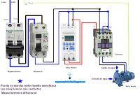 Esquemas eléctricos: Puesta en marcha motor bomba monofásica con reloj ...