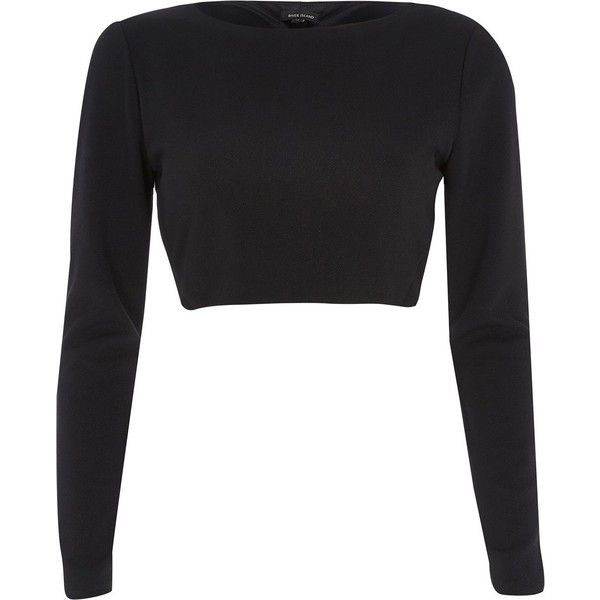River Island Black knot open back long sleeve crop top ($24) ❤ liked on Polyvore featuring tops, shirts, crop tops, sweaters, sale, women tops, shirts & tops, open back top, ballet wrap top and long sleeve henley shirt
