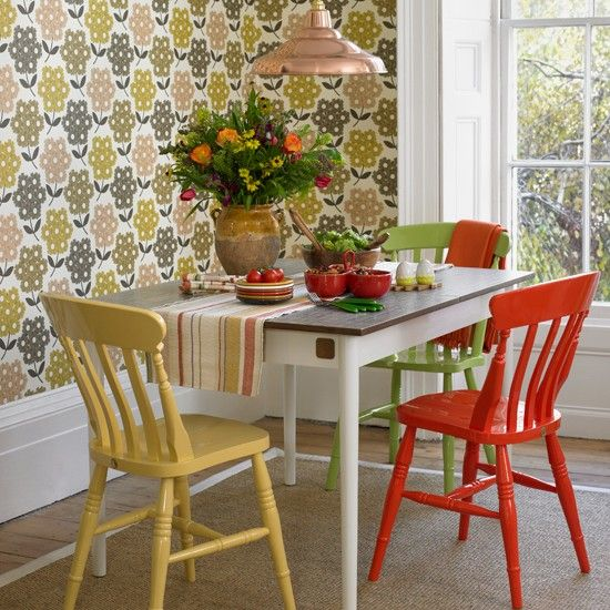 I love the table and chairs, but not the wallpaper! Dining room with retro print wallpaper | housetohome.co.uk