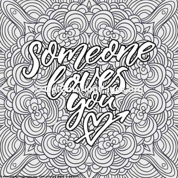Love Quotes Someone S Loves You Coloring Please Adult Coloring