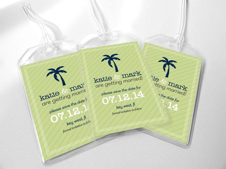 Wedding Favor Tags Vistaprint : the date wedding luggage tags palm tree design for destination wedding ...