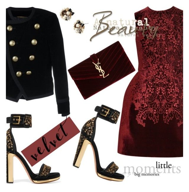"""Crushing on Velvet"" by katyusha-kis ❤ liked on Polyvore featuring Yves Saint Laurent, McQ by Alexander McQueen, Alexander McQueen, Betsey Johnson, McQueen, velvet and yvesaintlaurent"