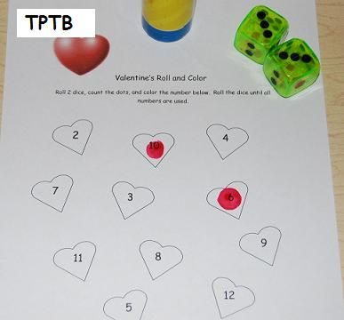 Valentines roll & color activity (printable)