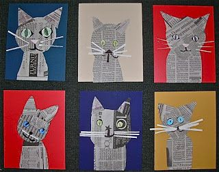 Collage Cats made from news print, from Finelines.