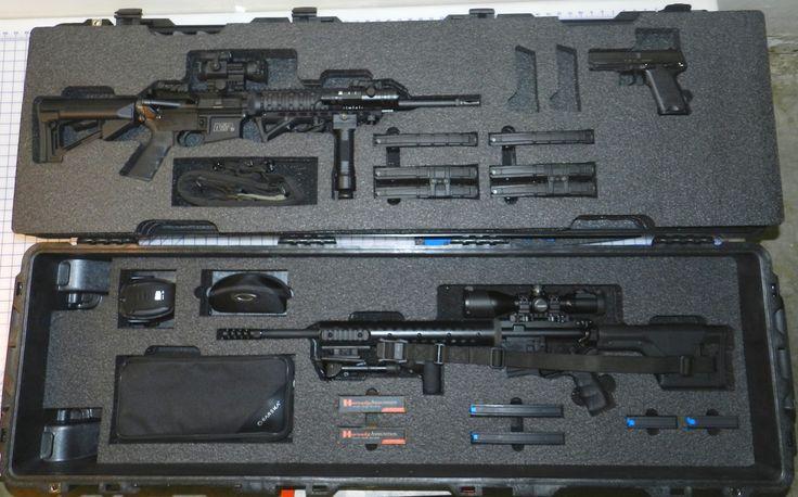 Heckler & Koch and Grendel in a Pelican case.  Custom foam.  Gun cases