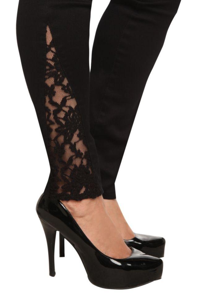 Torrid Denim - Black Side Lace Inset Stiletto Jeans | Torrid