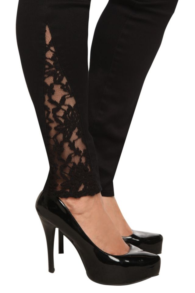 Torrid Denim - Black Side Lace Inset Stiletto Jeans | Torrid