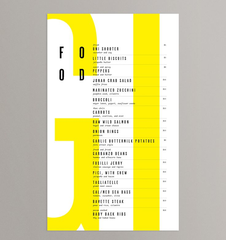 Brand identity and menus for Chicago restaurant Giant by Also Design, United States