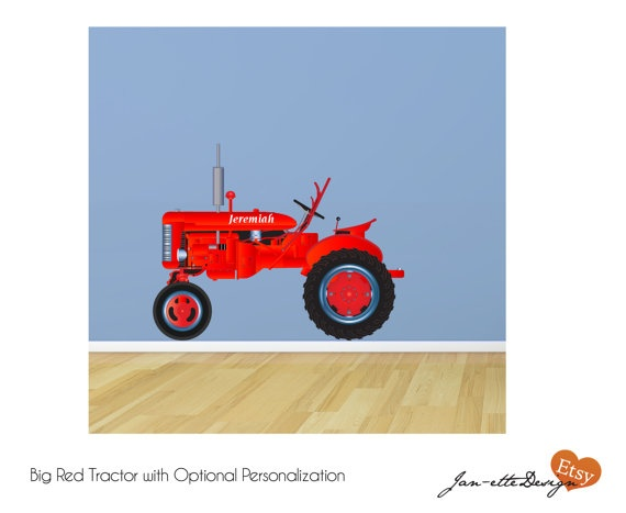 Big red tractor fabric wall decal by janettedesign on etsy for International harvester wall decor