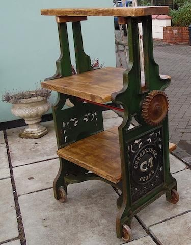 A vintage mangle upcycled into a display unit ideal for a shop, perfect for a home. This great item was shared with #UpcycledHour Tuesday 8-9pm on Twitter by @TheOldYard (www.theoldyard.co.uk).