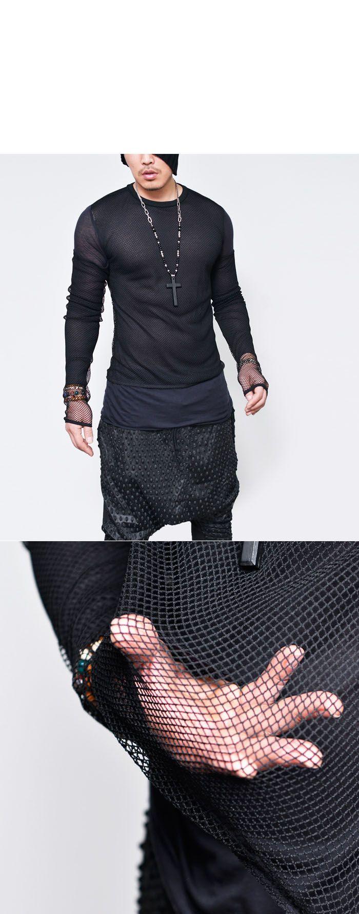 Tops :: Tees :: Zie-through Mesh Gelaagde Round-Tee 693 - Mens Fashion kleding voor een aantrekkelijke man Look