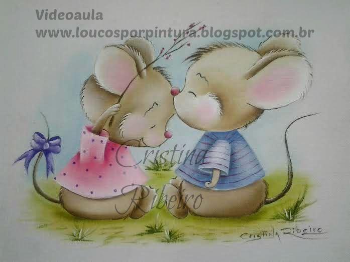Loucos por pintura - Aulas de pintura em tela e tecido: Aula de pintura em tecido completa - Como pintar tema infantil - Ratinhos